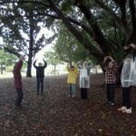 Tai Chi in raincoats New Farm Park, Brisbane